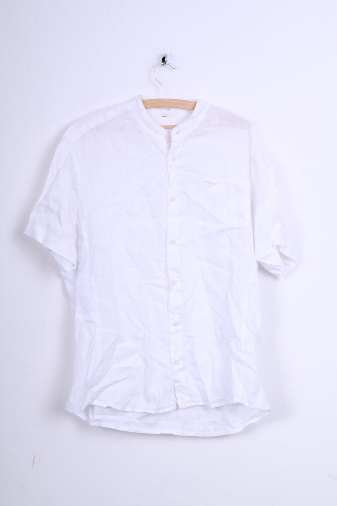 Angelo Litrico C&A Mens XL Casual Shirt White Short Sleeve