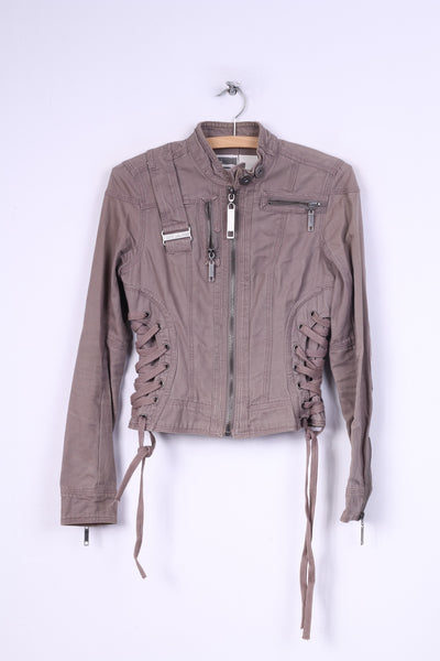 River Island Womens 34 8 XS Jacket Taupe Full Zipper Stand Up Collar Cotton Patches