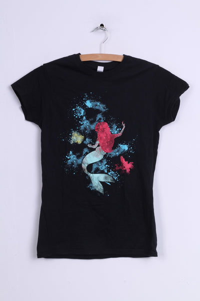 Gildan Soft Style Womens M Graphic Shirt Cotton Black Mermaid