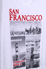 PIMKIE Womens S Sleeveless Top White San Francisco Graphic