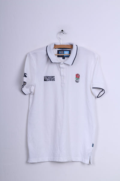 Rugby World Cup 2015 Collection England Mens M Polo Shirt White Cotton