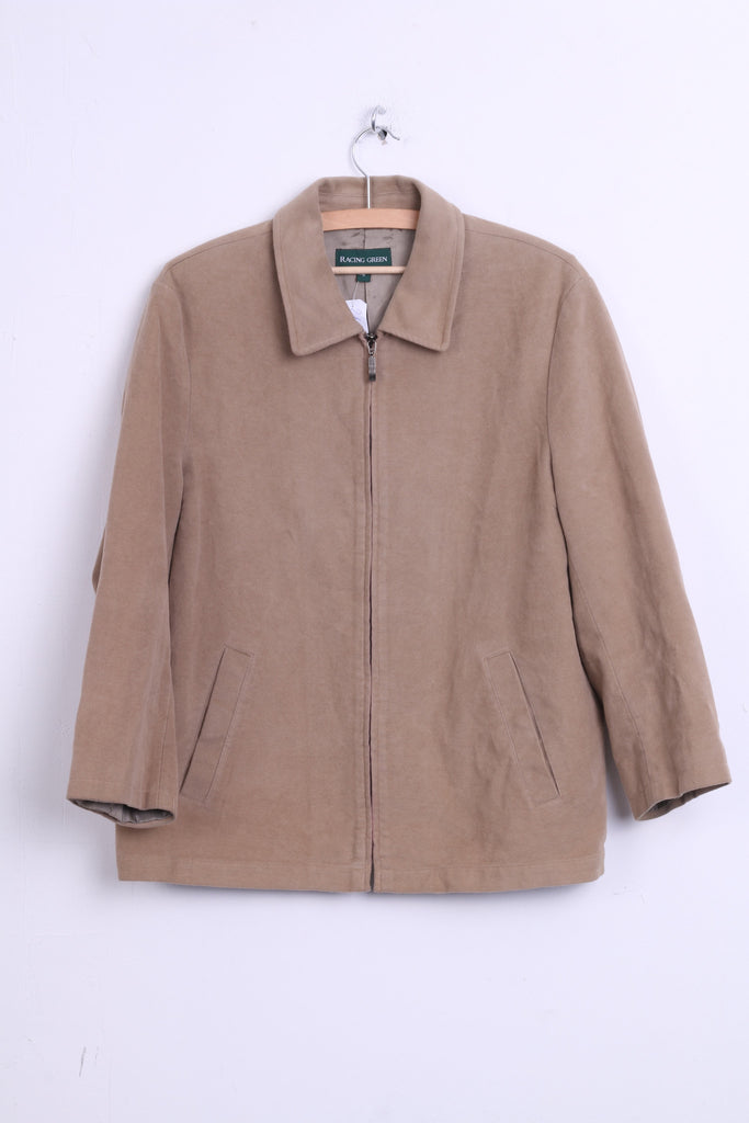 Racing Green Womens 16 XL Jacket Beige Cotton Top - RetrospectClothes