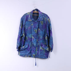 Vintage Womens 44 XXL Jacket Blue Abstract Print Full Zipper Nylon Outdoor Top