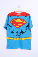 Superman Mens L T-Shirt Comic Superman Blue Top Crew Neck - RetrospectClothes