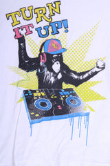 Dunnes Womens XS 31/32 T-Shirt Graphic White To Fit Chest Monkey Turn It Up!