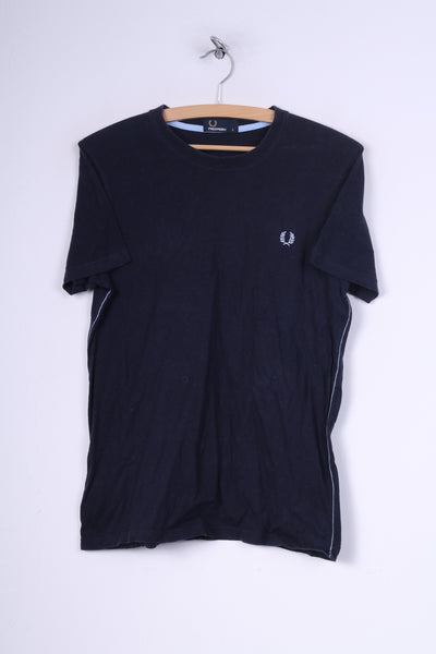 Fred Perry Mens S T-Shirt Crew Neck Navy Cotton Top