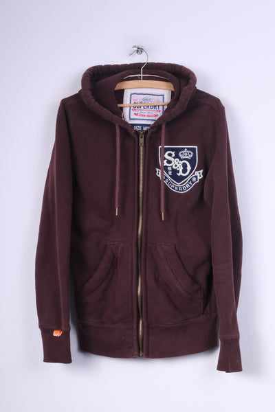 Superdry Mens M Sweatshirt Hooded Jumper Full Zipper Maroon Hoodie