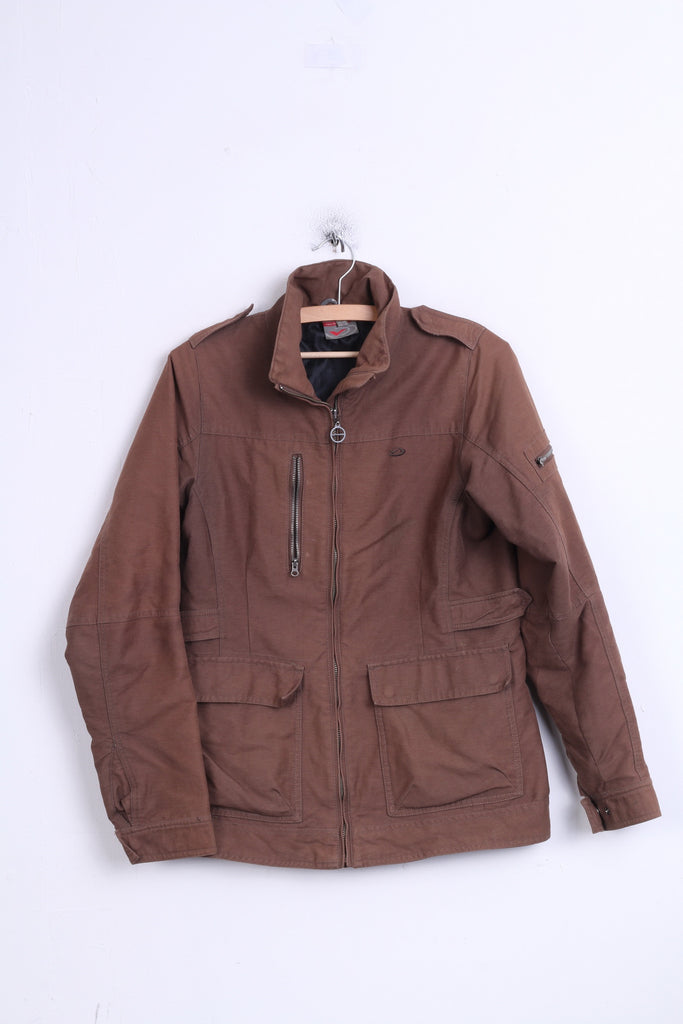 FIVE Womens 38 M Jacket Brown Cotton Padded - RetrospectClothes