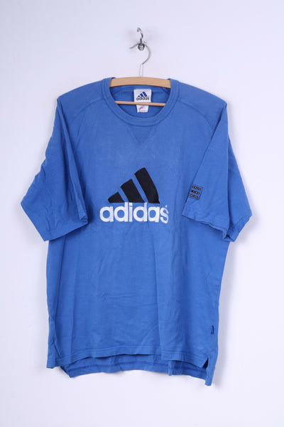 Adidas Mens 40/42 M T-Shirt Graphic Blue Crew Neck Cotton Vintage