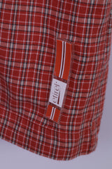 Etirel Mens L Casual Shirt Orange Check Cotton Two Pockets Outdoor Short Sleeve