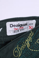 Desigual Rainbow Womens 30 Trousers Green Slim Fit Cotton The Fun
