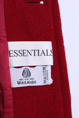 ESSENTIALS Womens 16 XL Jacket Coat Wool Double Breasted Red - RetrospectClothes