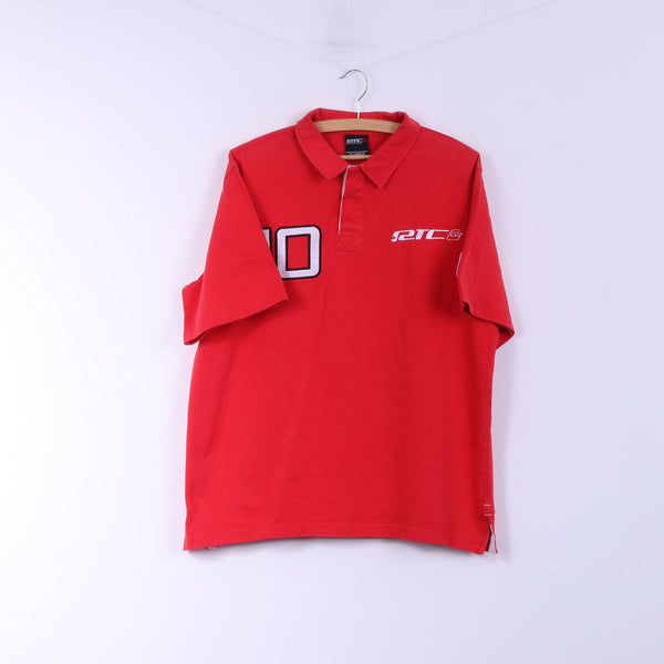 RTC Swiss Handmade Ski Mens XL Polo Shirt Red Short Sleeve Buttons Detailed #10 Top