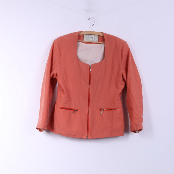 Cacadou A Reflection OF You Womens 40 L Blazer Peach Full Zipper Wool Jacket Top