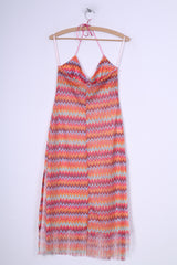 Sisters Point Womens S/M Midi Dress Mesh Colorful Summer Beach Halter Neck