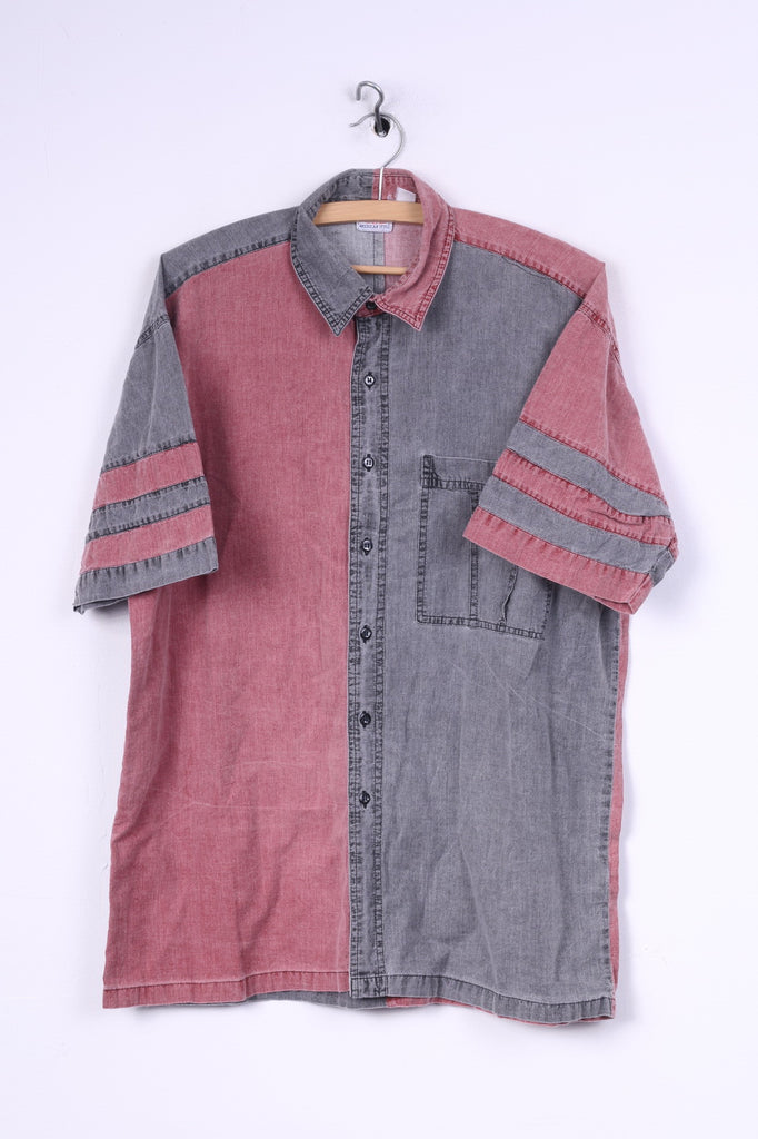 Ariozona Jeans Mens L Casual Shirt Grey Red Short Sleeve Cotton American Style