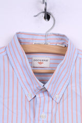 Dockers Mens L Casual Shirt Long Sleeve Blue Striped Modern Classic