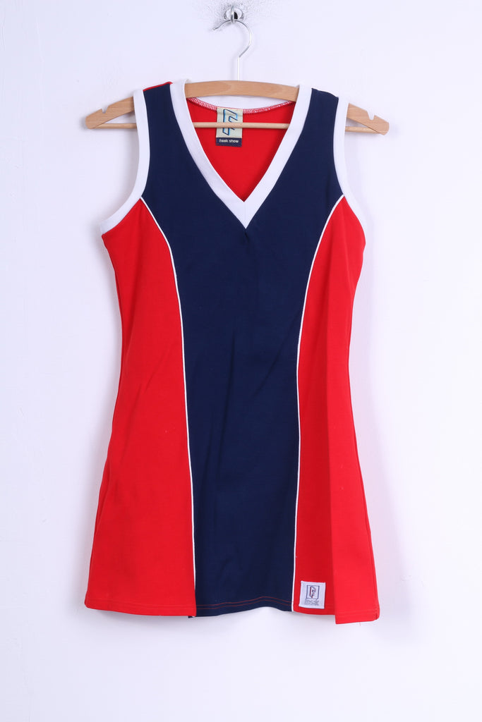 Freak Show Womens XS Dress Navy Red Nylon Sleeveless Gym Sport Tunic Stretch