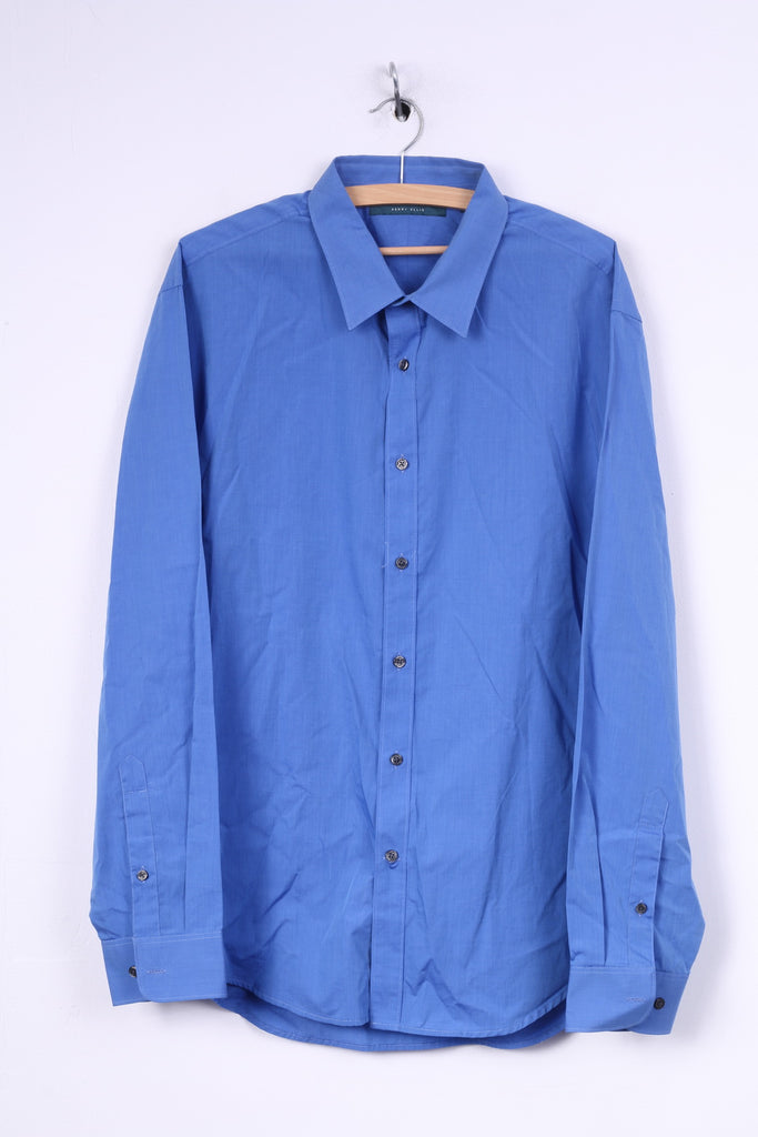 Perry Ellis Mens 2XL Casual Shirt Blue Cotton Long Sleeve