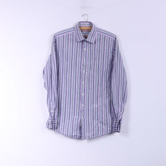 Thomas Pink Mens 15.5 39 M Casual Shirt Pink Striped Slim Fit Cotton Long Sleeve Top