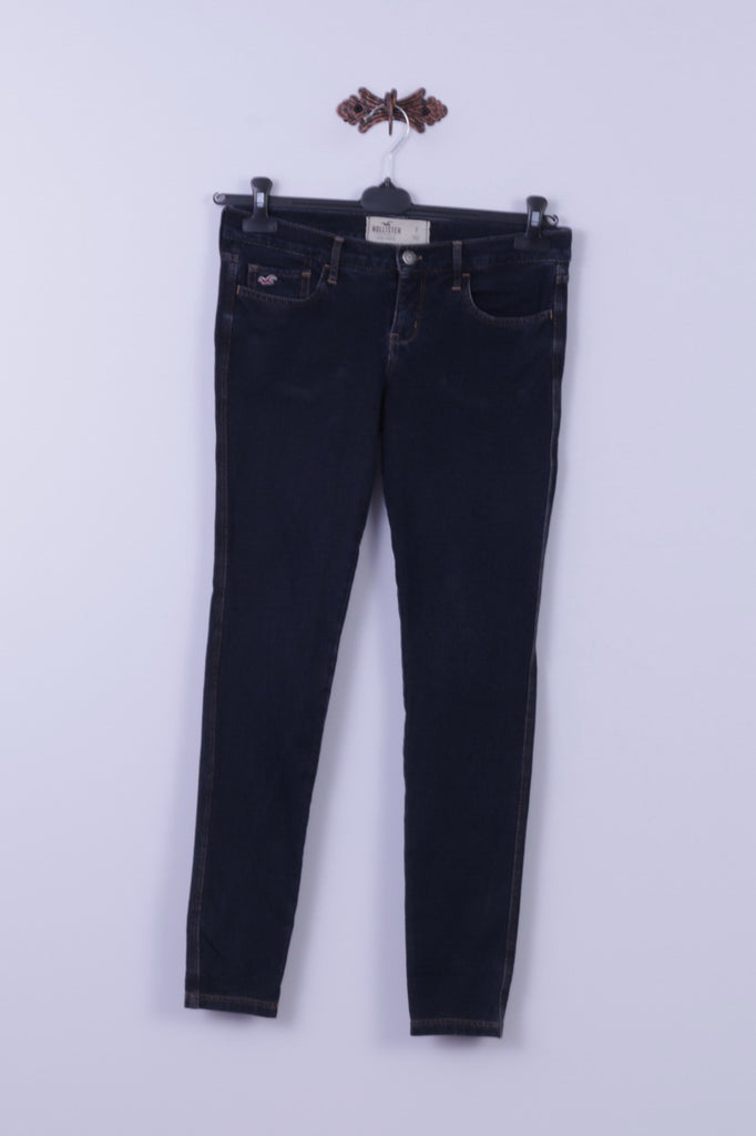 Hollister Womens 7 Trousers Navy Cotton Elastane Skinny Social Stretch Pants