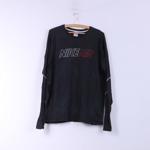 Nike Air Mens L 42/44 Shirt Long Sleeve Black Sportswear Top Cotton