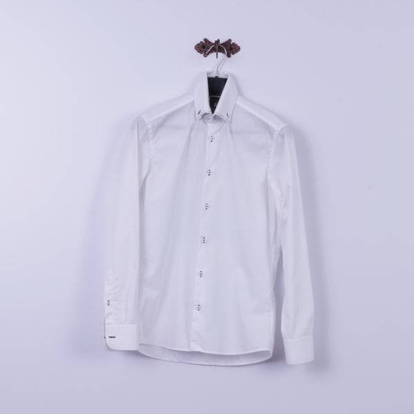 Ricco Vero Mens S Casual Shirt White Cotton Traveller Button Down Collar Long Sleeve