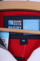 New Rugby World Cup 2015 WRU Harlequin Mens M Polo Shirt Flag Red S/S Cotton