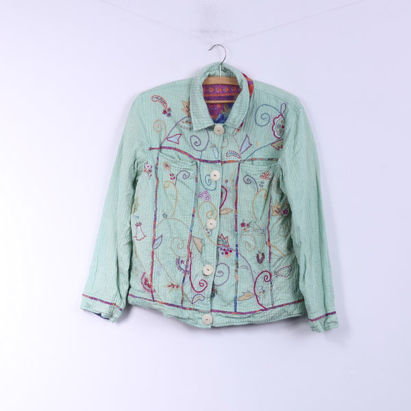 Flashback Womens L Jacket Double Sided Floral Turquoise/Pink Country Embroidered Top