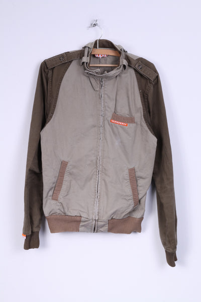 Superdry Mens SM Jacket Khaki Green Cotton Zip Up Sport Lightweight Top