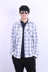 Superdry Mens L Casual Shirt White Check Cotton Long Sleeve - RetrospectClothes