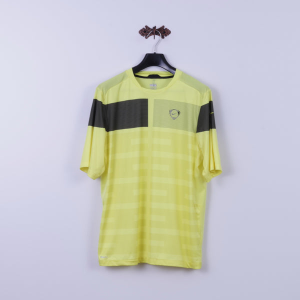 Nike Mens L Shirt Neon Yellow Football Training Dri Fit Jersey Sportswear Top