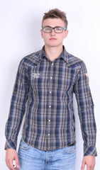 Scotch&Soda Mens M Casual Shirt Check Luxury Dark Grey Cotton - RetrospectClothes