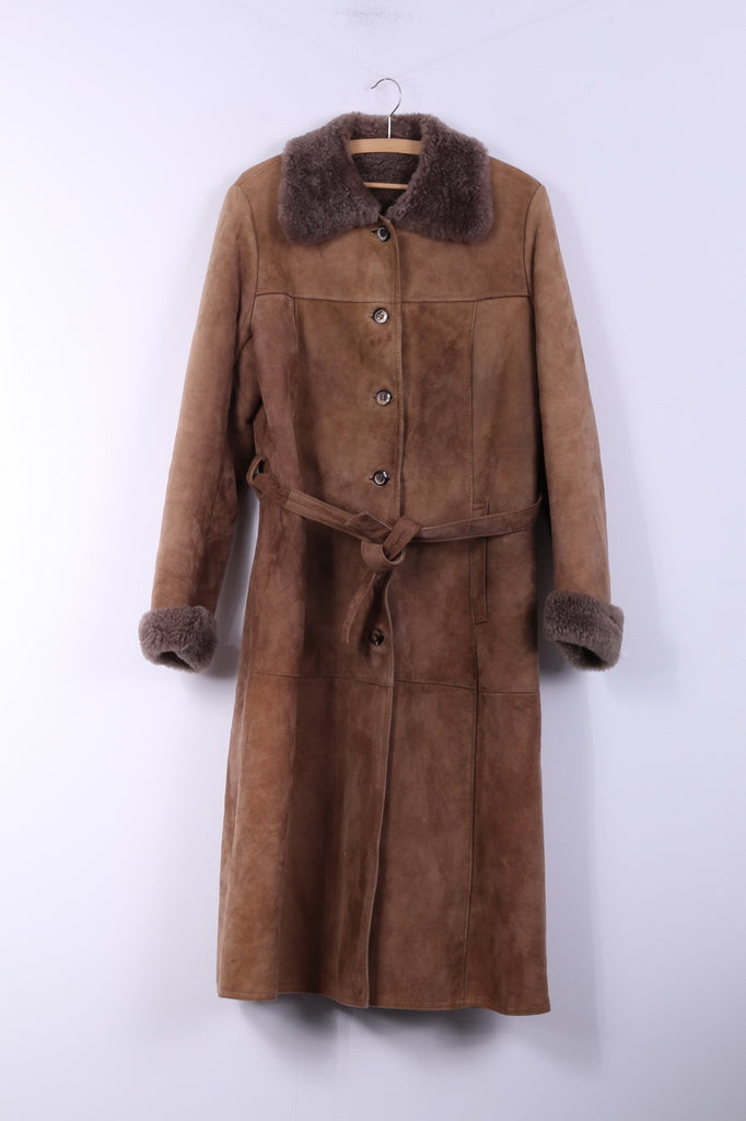 Skin Wear Arne Öjes AB Malung Sweden Womens 44 L/XL Long Coat Soft Skin Single Breasted Sheepskin