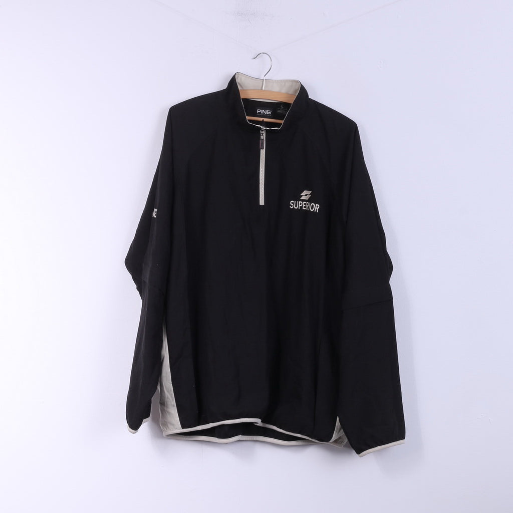 Ping Collection Mens XL Pullover Jacket Black Golf Zip Neck Superior Sportswear