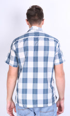 Tommy Hilfiger Jeans Mens S Casual Shirt Check Blue Short Sleeve Summer - RetrospectClothes