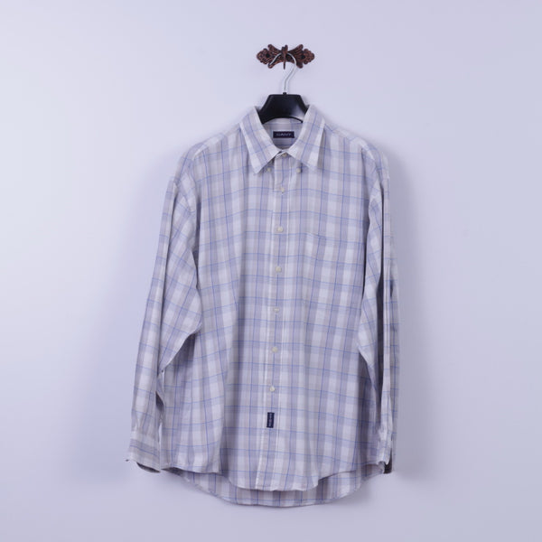 GANT Mens XL Casual Shirt Beige Check Cotton 50's Pique Long Sleeve Regular Fit