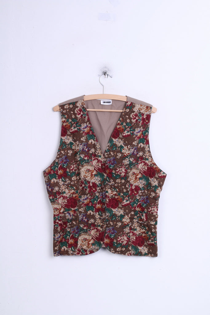 The Clothing Barn Womens L Vest Brown Waistcoat Flowers Pattern - RetrospectClothes