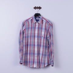 Nautica Mens L Casual Shirt Blue Check Heritage Fit 100% Cotton Long Sleeve