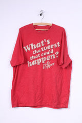 George Mens 2XL T-Shirt Crew Neck Red What's The Worst That Could Happen ? dr Pepper