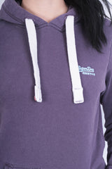 Superdry Womens S Sweatshirt Hood Purple Cotton - RetrospectClothes
