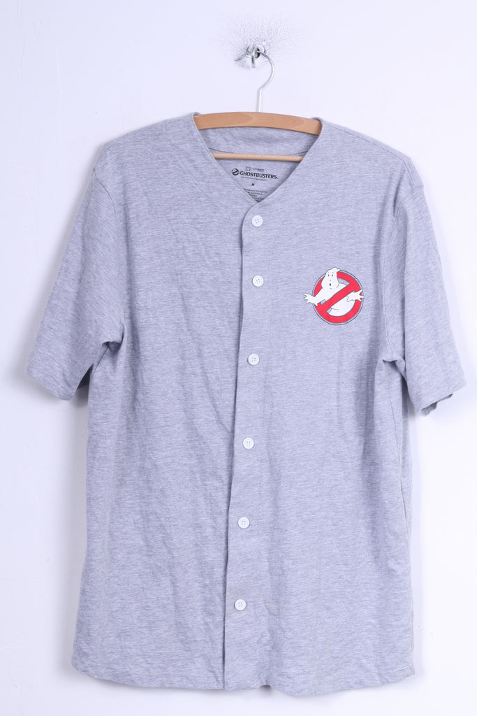 Ghostbuters Mens M Shirt Grey Cotton Buttoned Graphic #88