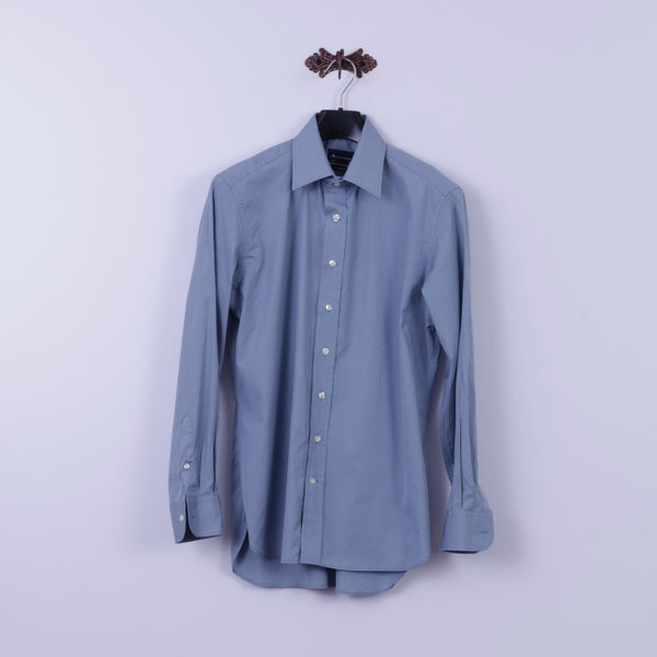 Aquascutum Mens 16 S Casual Shirt Blue Slim Fit Cotton Long Sleeve Plain Top