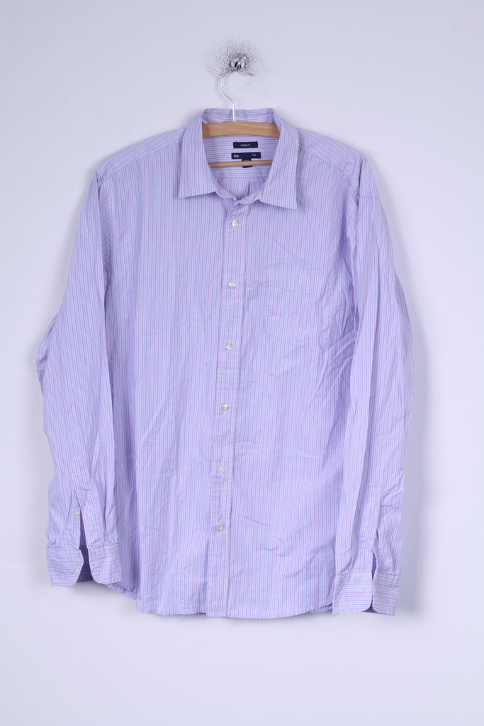 Gap Mens L Casual Shirt Blue Striped Cotton Classic Fit Long Sleeve