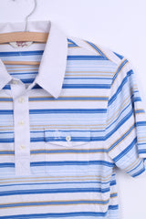 Penguin Mens M Polo Shirt White Short Sleeve Cotton Striped