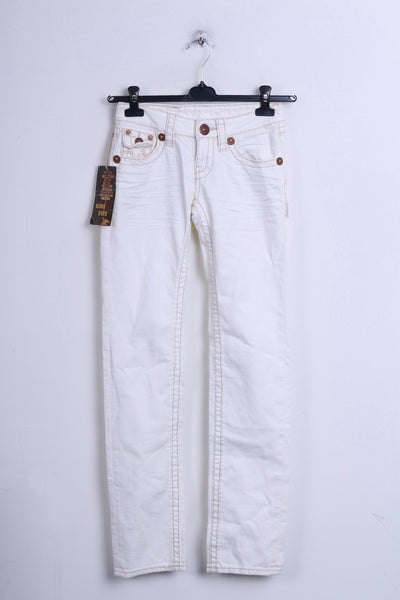New Bisou Deve Womens Trousers 36 S Jeans Cream Cotton