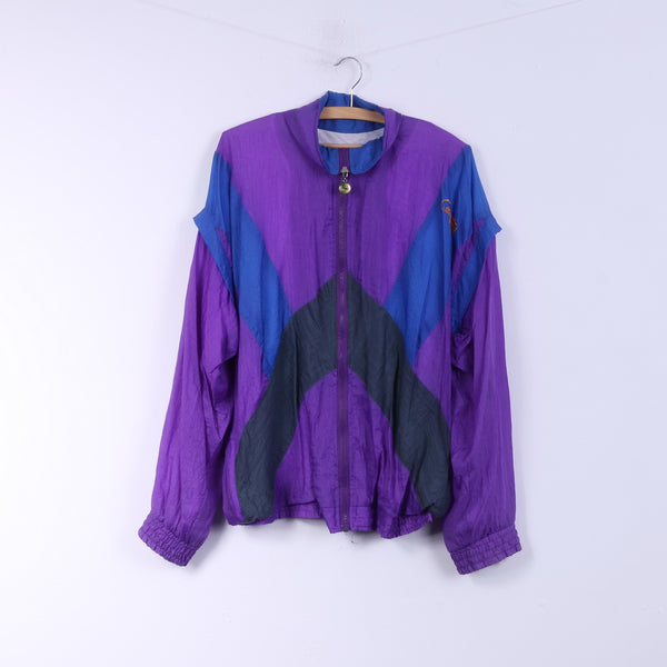 Competition Womens XL Jacket Purple Nylon Festival Full Zipper Vintage 90s