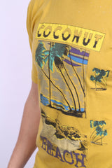 Mens L Shirt Mustard Coconut Beach Summer Short Sleeve - RetrospectClothes