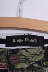 River Island Womens 30  Casual Shorts Palms Print Cotton Green