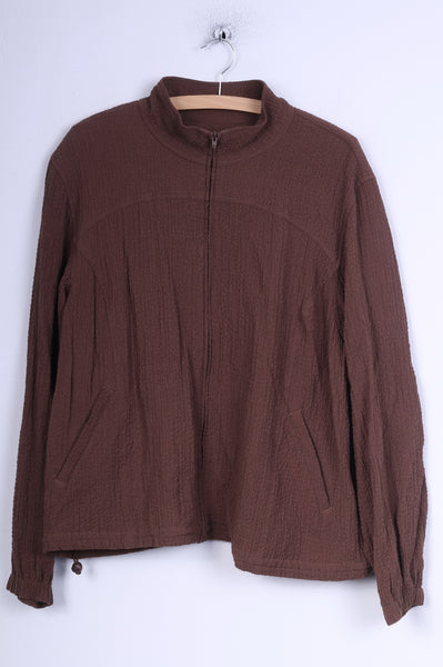 Orvis Womens XL Jacket Brown Full Zipper Summer Rayon Vintage